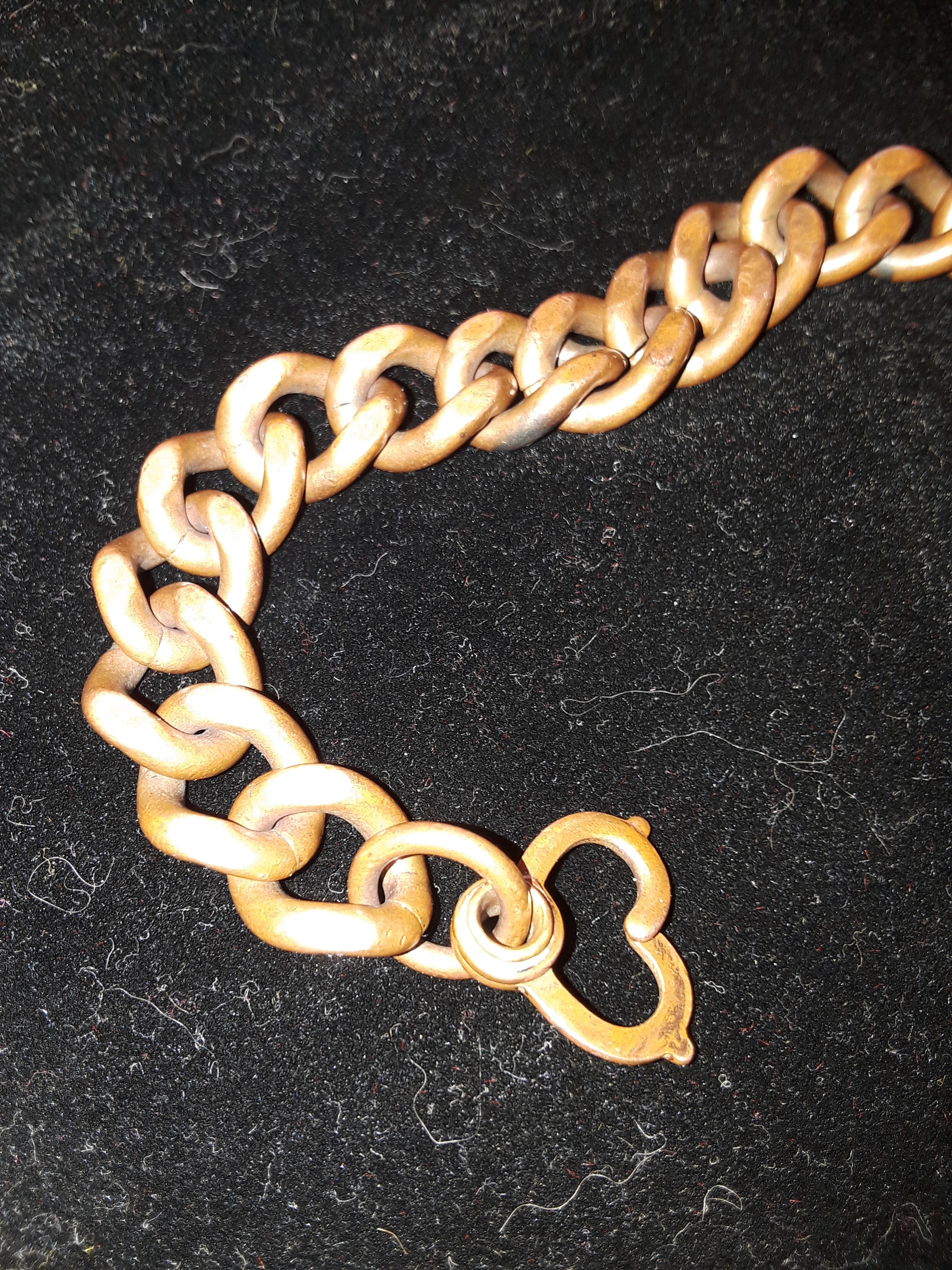 Vintage 8 /' /' bracelet 45g heavy solid-big link chain-engraved solid copper-unisex 1970