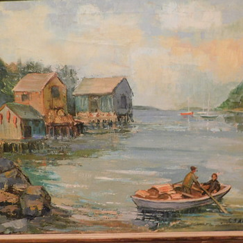 """Vintage American Impressionist Oil Painting Stunning Seascape with Boat Houses and Boats Titled """"Maine Cove"""""""