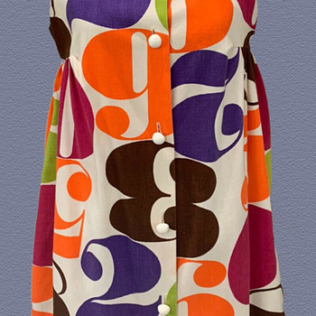 1960's Pop Art Dress with Colorful Numbers - Womens Clothing