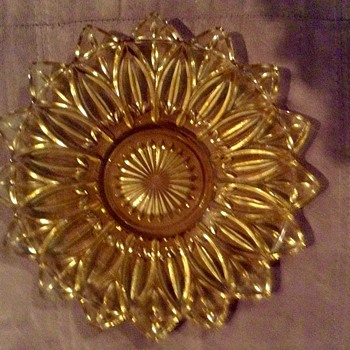 "Federal Glass Sun Gold Flower Petal 11 1/2"" Serving Platter"