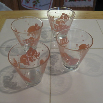 Pink Elephant juice glasses - Glassware