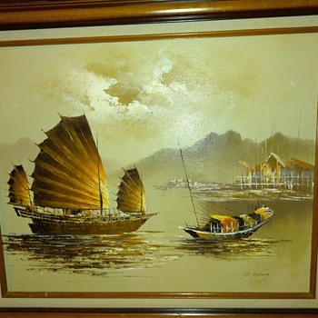 Vintage P. Wong Oil painting - Asian