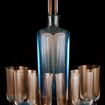 Milan Metelak Controlled Bubble Faceted Decanter Set. PN# 7/3032 – 1967 for Harrachov Glassworks. - Art Glass