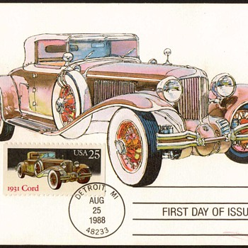 "1988 - ""1931 Cord L-29"" - First Day Issue Stamped Card - Stamps"