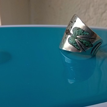 Peyote Bird Inlaid Turquoise & Coral Ring 1974 - Fine Jewelry