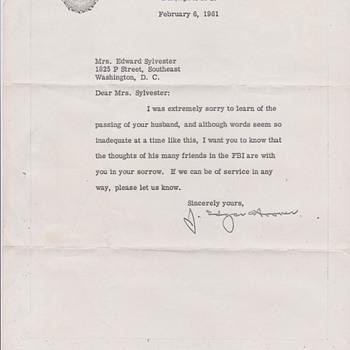 J Edgar Hoover letter - Paper