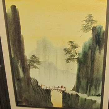 walking across a bridge painting - Fine Art