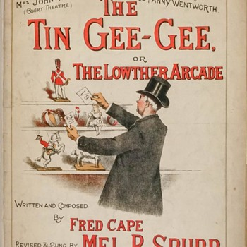 WHAT IS A TIN GEE- GEE SHEET MUSIC ,SHOWS AN OLD GENT LOOKING FOR ONE AMID OLD TOYS. PRE 1900. - Music Memorabilia