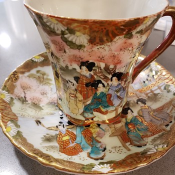 Nippon hand painted cup and saucer set - China and Dinnerware