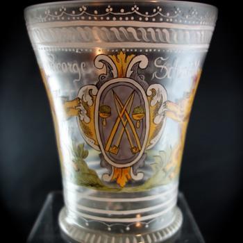 Fritz Heckert, Petersdorf- Renaissance Revival enameled Becher, ca. 1879-80 - Art Glass