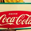 "1964 Deadstock Coca-Cola Fishtail sign with privilege panel 72"" x 36"" with bottle cap corners"