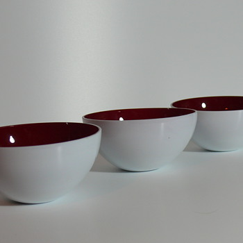 white and red cased glass bowls - Art Glass