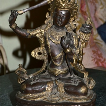 Chased Bronze figure of Manjushri - Gate Gate Parasamgate! - Asian