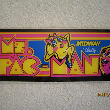 1981 Midway Bally Co. Ms. Pac-Man Advertising Front Video Game Display - Coin Operated
