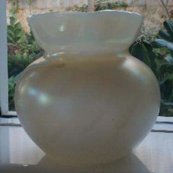Kralik Bohemian Pearlescent Iridescent Vase - Art Glass