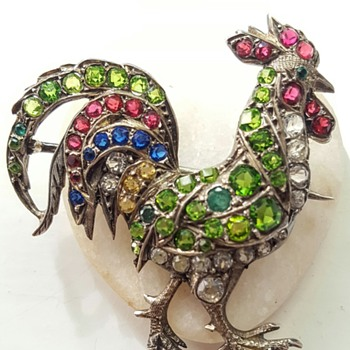 Antique rooster silver and paste brooch, Auguste Besson. - Fine Jewelry
