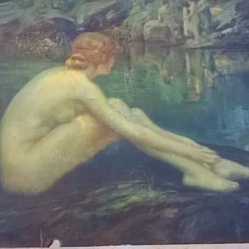 Louis Frederick Berneker naked lady at water  ladies in background