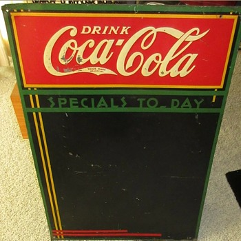 1930's Coca Cola menu tin sign  - Coca-Cola