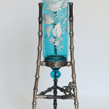 Bohemian Turquoise Blue Vase in Aesthetic Period Mount with Bamboo and Bees, c. 1880 - Art Glass