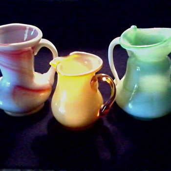 "Three Colorful Miniature Art Glass Pitchers / ""Kanawha"" or ""Akro"" Slag Glass / Unknown Age - Art Glass"