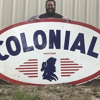 Happy Memorial Day !!! Colonial Gasoline porcelain sign Jacksonville Florida. - Petroliana