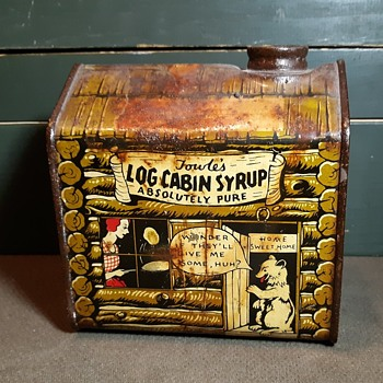 Vintage Log Cabin Towle's Log Syrup Tin Comics Style With Bear 1930s Perhaps - Advertising