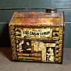 Vintage Log Cabin Towle's Log Syrup Tin Comics Style With Bear 1930s Perhaps