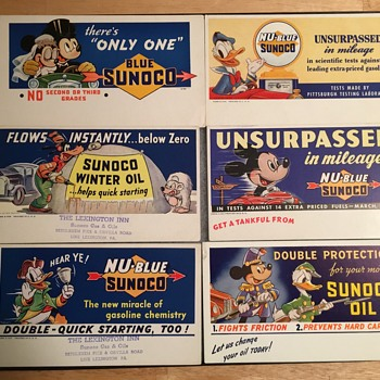"Disney ""Sunoco Gasoline"" Ink Blotters  - Advertising"