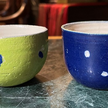 Small Thrown Cups with Polka Dots - Pottery