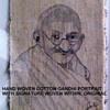 AWESOME VINTAGE HAND WOVEN COTTON PORTRAIT OF MAHATMA GANDHI WITH AUTOGRAPH
