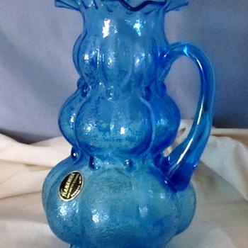 Kanawha glass blue ruffled pitcher...labeled :) - Art Glass