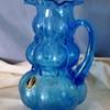 Kanawha glass blue ruffled pitcher...labeled :)