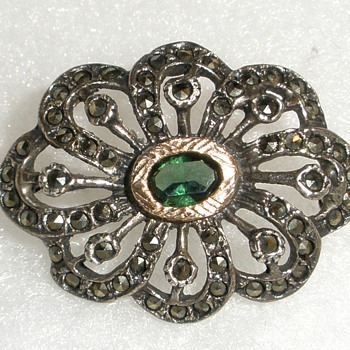 Sterling,  Gold , Marcasite & ?? Green Gemstone Brooch. - Fine Jewelry