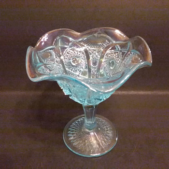 Imperial  iridescent  Nucut pattern footed bowl  - Glassware