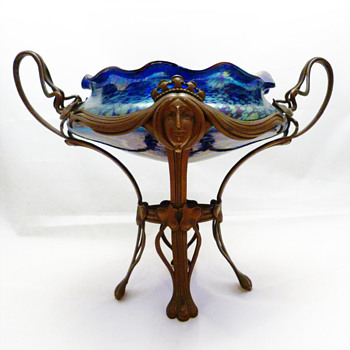 Lötz bowl Cobalt Papillon ca. 1900 with bronze mount in the style of Gruschner - Art Glass