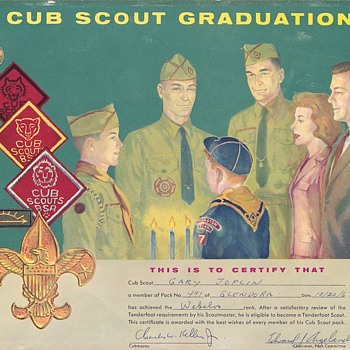 Saturday Evening Scout Post. Cub Scout Graduation Certificate 1967 - Sporting Goods