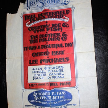 Tribal Stomp Poster - Country Joe, Big Bro & the Holding Co., Canned Heat, Allen Ginsberg, etc...