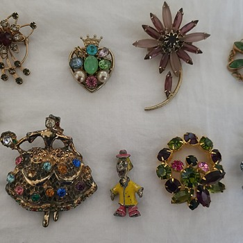 Modge Podge of Earrings and Brooches - Costume Jewelry