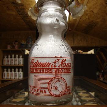 """ERDMAN & SONS """"EARLY STYLE"""" PINT BABY TOP MILK BOTTLE...LYKENS, PA. - Bottles"""