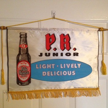 PR Junior Beer Silk Banner - Breweriana
