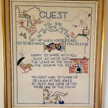 Vintage framed needlework question - Sewing