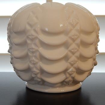 Fostoria milk glass rose bowl - Glassware