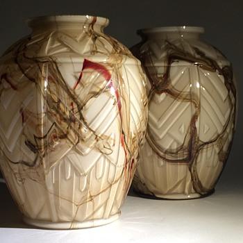 Art Deco Bohemian or Scailmont vase pair - Art Glass