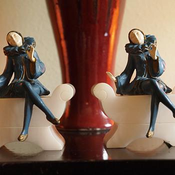 1925 Blue Harlequin Girls on Divan Bookends,  J B Hirsch