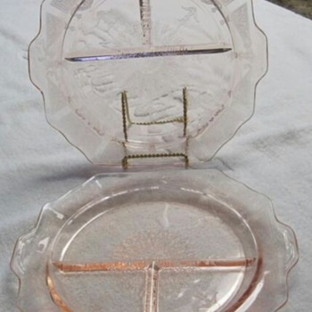 """Two 10 1/2"""" Pink Depression Glass Princess Grill Plates"""