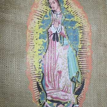 Guadalupe on burlap from Cuzco - Fine Art