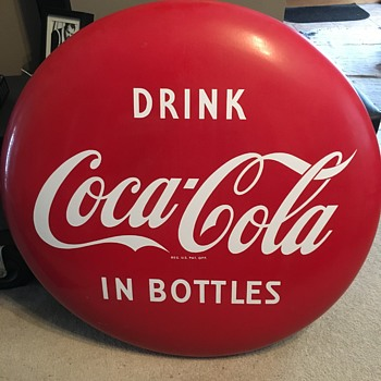 1950's Coca-Cola Button Sign - Coca-Cola