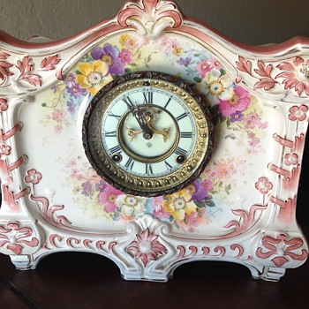 "Ansonia Royal Bonn ""La Croix"" Mantel Clock"