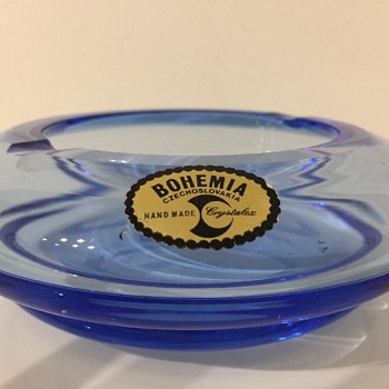 Bohemian crystal ashtray - looking for more info & date please - Art Glass