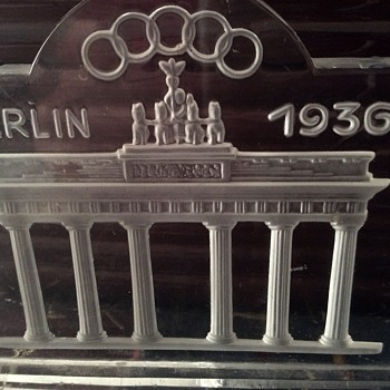 1936 Olympics Glass souvenir paperweight - Art Glass
